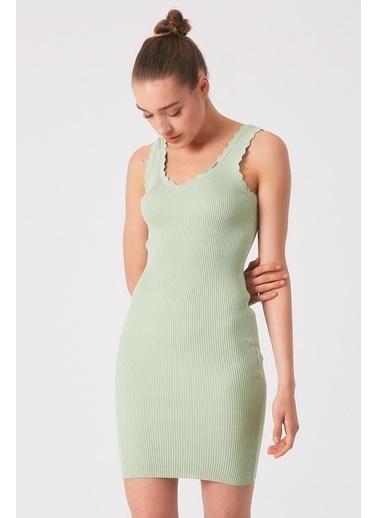 Robin Kalın Askılı Triko Elbise Mint Yeşil